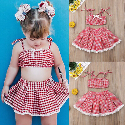eff2421a90 UK Summer Newborn Kid Baby Girl Plaid Clothes Strap Crop Top Shorts Skirt  Outfit
