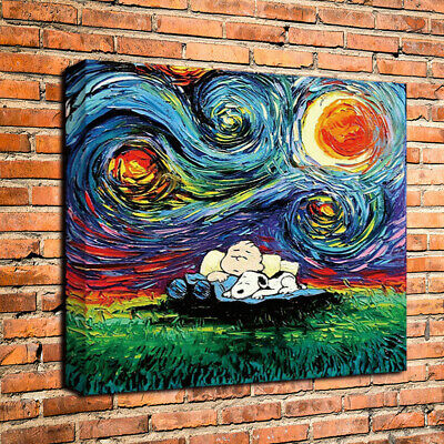 Snoopy Van Gogh Starry Night Art HD Print Home Wall Decor Oil Painting on Canvas