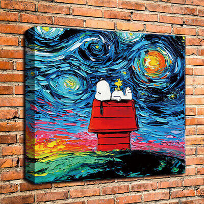 Snoopy Van Gogh Poster Art HD Print Home Wall Decor Oil Painting on Canvas