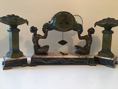 Antique Art Nouveau Clock Mantle
