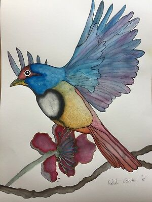 Original Watercolour Bird With Certificate Of Authenticity