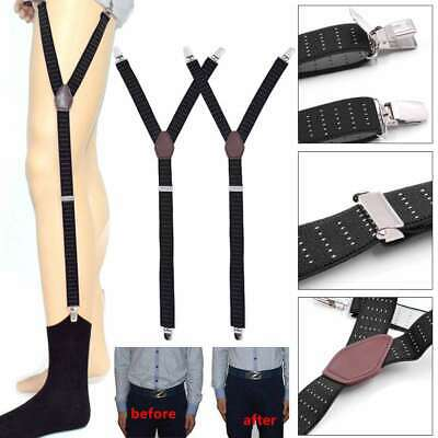 Y-Shape Shirt Stays Holders Adjustable Elastic Belt Sock Garters Suspender