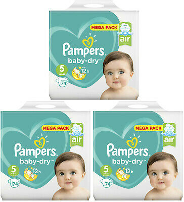 Lot 222 Couches Pampers baby-dry Taille 5 de 13 à 16kg Air Channels Mega Pack
