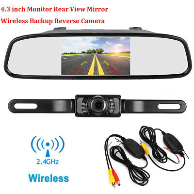 "4.3"" LCD Monitor Car Wireless BackUp Camera Kit Rear View Mirror Night Vision IR"