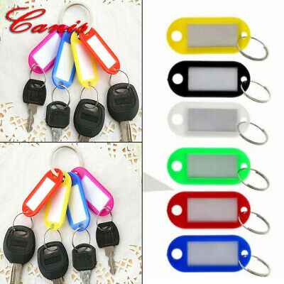 10Pcs Assorted Color Keychain Key Tags ID Label Name Card Key Tags Split Ring