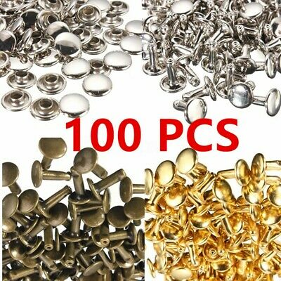 Double Cap Tubular Rivets in 8mm-12mm Two Piece Leather Punk Craft Repair 100pcs
