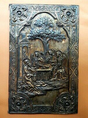 ANTIQUE OLD 19'c IMPERIAL RUSSIAN ABRAHAM AVRAAM ICON SOLID SILVER 84 A. Svechin