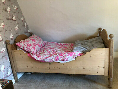 Antique Pine Single Bed, with mattress