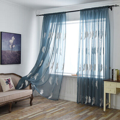 Room Curtains Tulle Voile Feather Pattern Window Curtain Sheer Panel Drapes LA