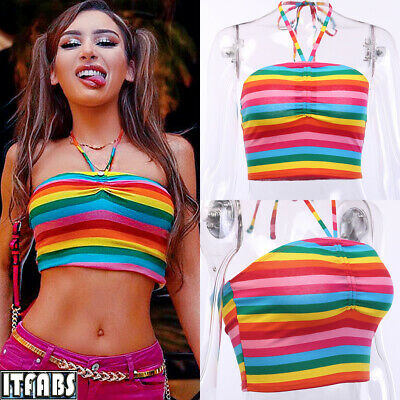 Ladies Rainbow Striped Sleeveless Vest Beach Holiday Hanging Neck Wrap Tank Top