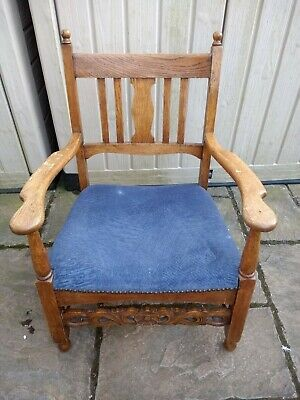 Antique Oak Upholstered Armchair/ Parlour Chair-Carved Front Stretcher -Low Seat