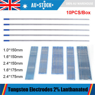 10Pcs 1.6mm 2.4mm 2% Lanthanated WL20 TIG Tungsten Electrodes For Welding Metals
