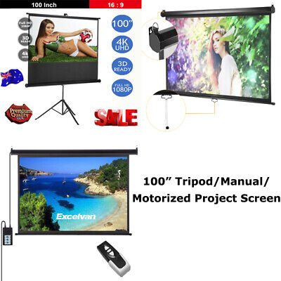 "100"" Manual Electric Motorised tripod Projector Screen Home Theatre Projection"