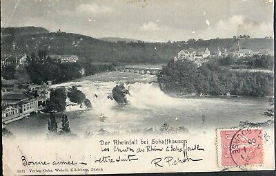 Postcard Old the Fall of the Rhine a Schaffausen