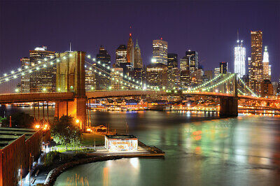 Design Tapete Fototapete USA Stadtlandschaft New York Brooklyn Bridge bei Nacht