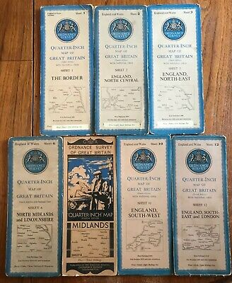 7 x Rare 1946 Vintage Large Ordnance Survey Quarter Inch Map's of Great Britain