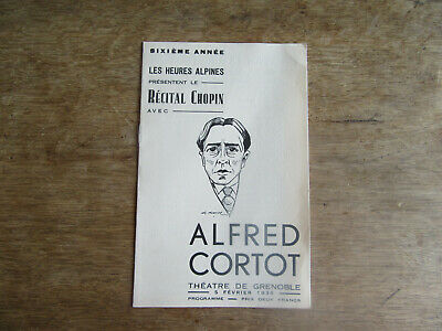 Programme Récital Chopin avec Alfred CORTOT Grenoble 1934  ill G. Gorde
