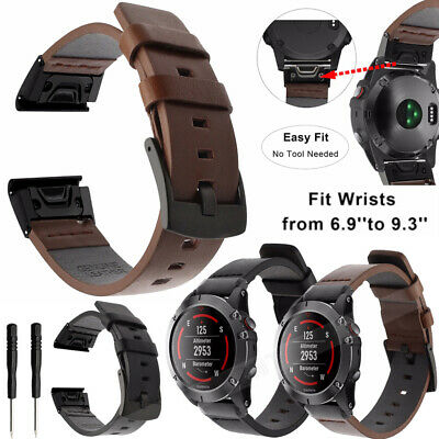 Quick Release Geniune Leather Strap Band For Garmin Fenix 5 5X Plus 3HR S60 945