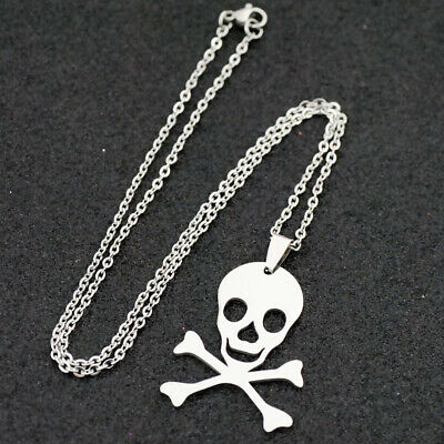 10pcs cool skull Stainless Steel Pendant Stainless Steel chain Necklace
