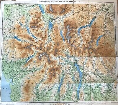 """3 x Identical Vintage Bartholomew's """"One Inch Map of The Lake District"""" c1930's"""