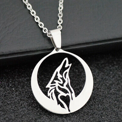 lot 10pcs cool werewolf wolf moon Pendant Stainless steel chain Necklace