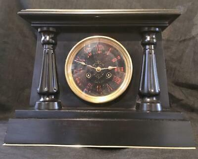 Antique french marble egyptian revival clock month running signed GAY PARIS