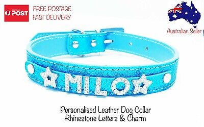 Personalised Leather Glitter Collar Dog Puppy Rhinestone Bling Letters & Charm