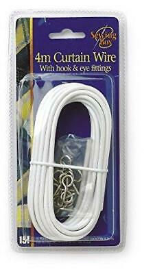 Net Curtain Wire White Window Cord Cable With 16 HOOKS & EYES