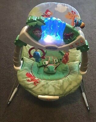 Fisher Price Rainforest Waterfall Musical infant Vibrating Activity Bouncer EUC