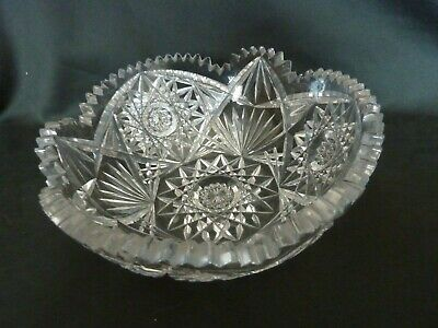 Vintage Lead Crystal Cut Glass Serving Bowl with Sawtooth Cut Edge