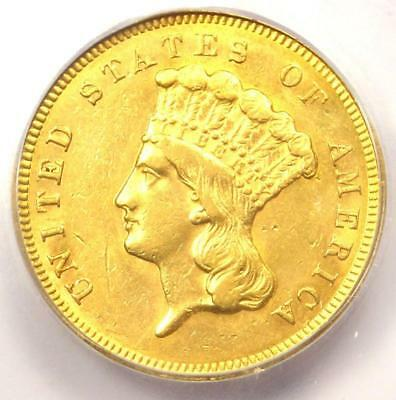 1857-S Three Dollar Indian Gold Coin $3 - Certified ICG AU55 - $7,940 Value!