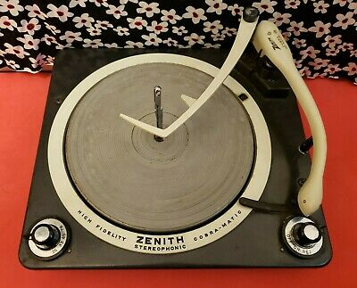 Rare 1958 Zenith Cobra-Matic Snake Shaped Tone Arm Record Player Tested Video