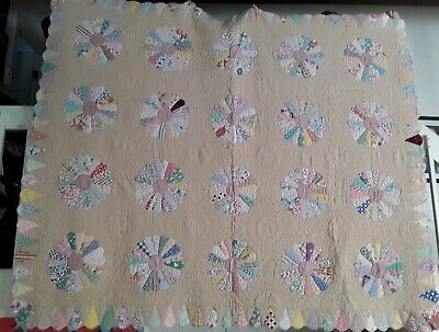 """Vintage dresden plate hand-pieced/appliqued quilt from 1940's 71"""" x 87"""" BEAUTY"""