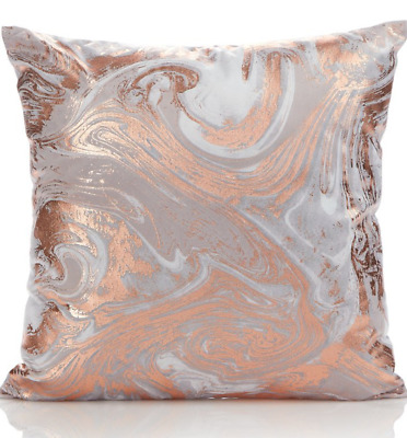 NEW COPPER ROSE GOLD SILVER GREY MARBLE EFFECT SOFT CUSHION 43cm x43cm Large
