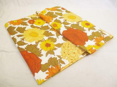 Huge Lot Of Vintage 60's Fabric 7mtrs Orange Yellow Green Floral Mid-Century