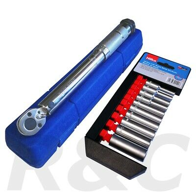 """1/4"""" Dr Low Range Micrometre Torque Wrench 5-25nm With Hilka 4-13mm Socket Set"""