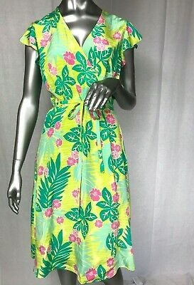 32928aa0a4d831 LILLY PULITZER size 10 faux WRAP Cap SLEEVE SILK DRESS lime GREEN pink  vintage