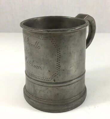 """Antique Pewter Pint Measure Tankard Inscribed """"Mitcham"""" 11cm In Height"""
