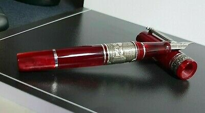 Marlen Pompeii Fountain Pen   Red Italian Resin, Lava Rock   Old Cities Collect.