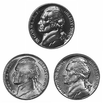 2012 P D S Jefferson Nickel Year Set Proof /& BU US 3 Coin Lot