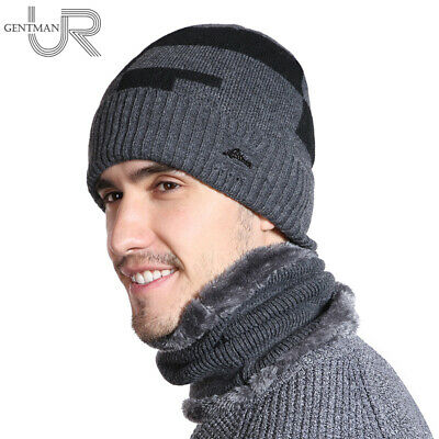URGENTMAN® Hat New Plus Velvet Winter Hat Men Skullies Beanies Scarf Set Male