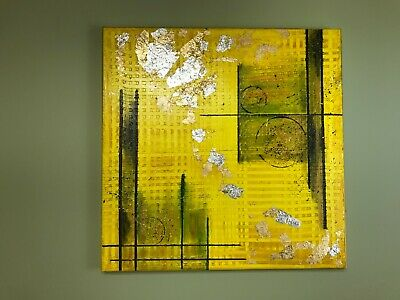 """Abstract Textured Acrylic Painting on canvas, Gold leaf, Silver leaf. 18"""" x 18"""""""