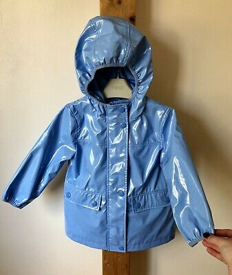 Next Girls Pale Blue Lightweight Raincoat Jacket Hooded Age 3 Years
