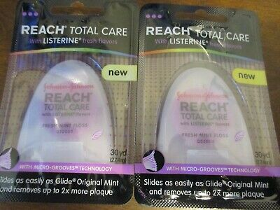 (2) Reach Total Care Floss with Listerine, Fresh Mint, 30 Yards
