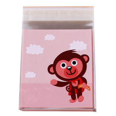 Cute Cartoon Monkey Pattern Self Adhesive Cellophane Gift Cookie Candy Bag WE