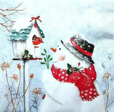 4 Lunch Paper Napkins for Decoupage Party Table Craft Vintage Snowmen and Bird