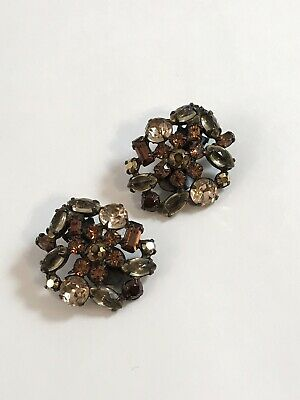 Vintage Gorgeous Art Deco Rhinestone Glass Schreiner New York Earrings