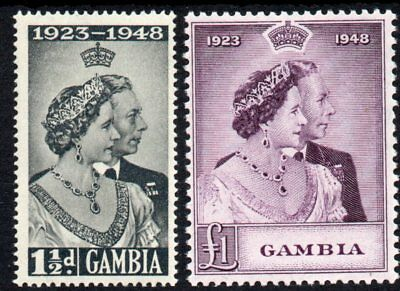 Gambia 1948 Sg164 - Sg165 ROYAL SILVER WEDDING. in P.O. Fresh mint never hinged