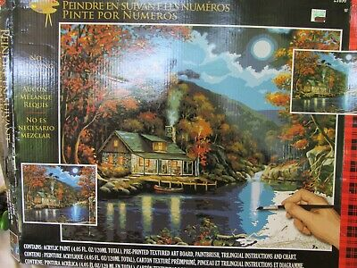 Lakeside Cabin #21690 Plaid Acrylic Paint By Number Set  unused