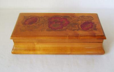 Vintage Wooden Bombe Shape Jewel Box with Painted Rose Interlace Pattern on Lid